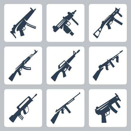 guns: Vector machine guns and assault rifles icons set