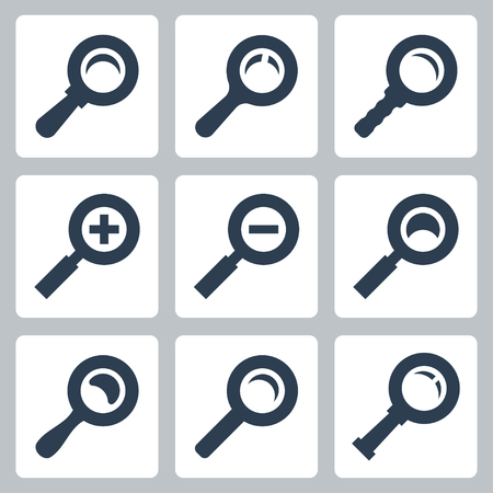 lupe: Vector isolated magnifier glass icons set: search, zoom