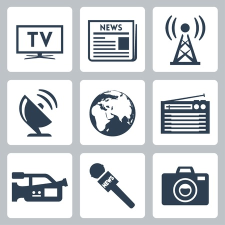 press news: Vector mass media icons set