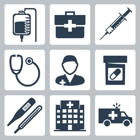 infirmary: Vector isolated medical icons set