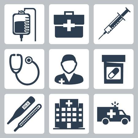 Vektor isolierte medizinische Icons Set