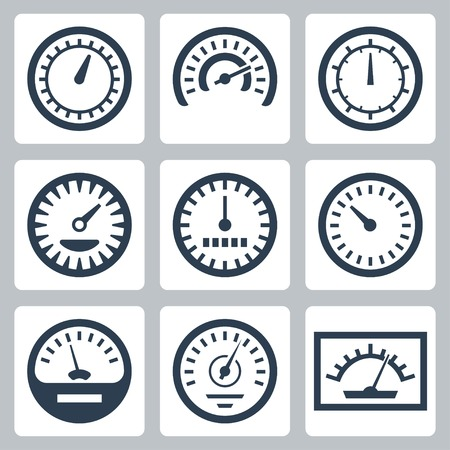 Vector isolated meters icons set Illustration