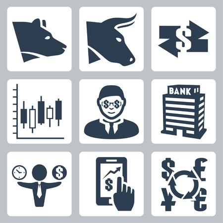 Vector geld, beurs pictogrammen instellen