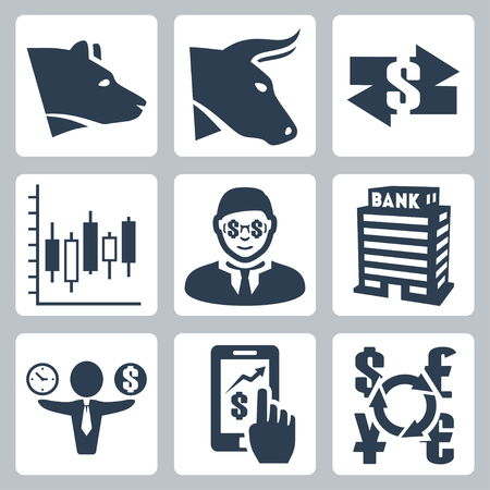 Vector money, stock exchange icons set Vector