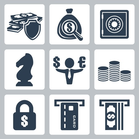 Vector isolated money icons set Vector