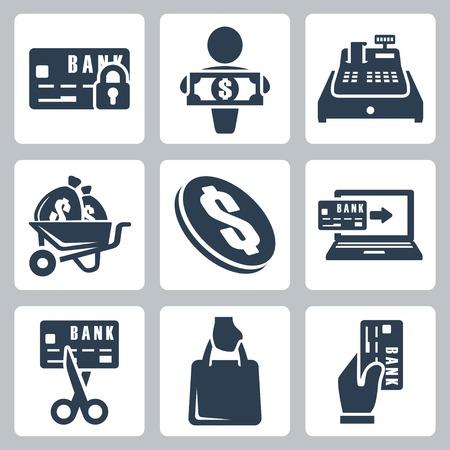 maquina registradora: Vector aislados iconos de dinero establecidos