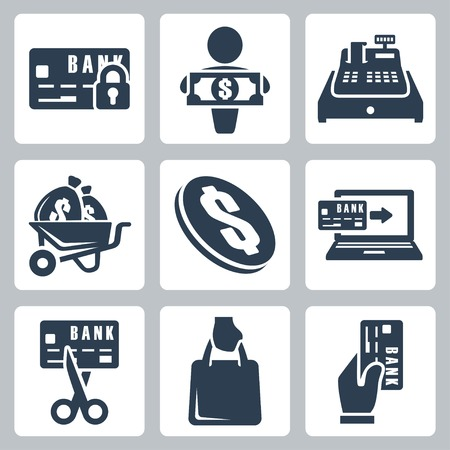 cash register: Vector isolated money icons set