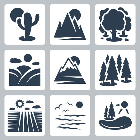 morning nature: Vector nature icons set: desert, mountains, forest, meadow, snow-covered mountains, conifer forest, field, sea, lake