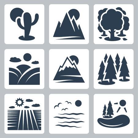 coniferous forest: Vector nature icons set: desierto, monta�as, bosques, prados, monta�as nevadas, bosques de con�feras, campo, mar, lago