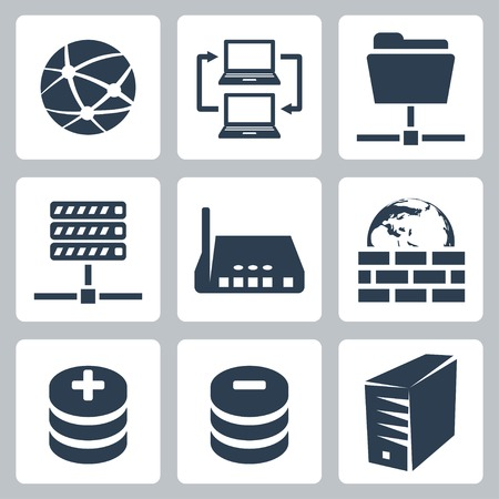 server farm: Vector isolated computer network icons set Illustration