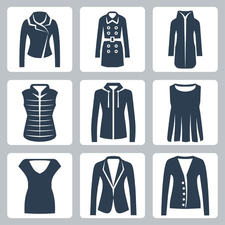 Vector womens clothes icons set: jacket, overcoat, down-padded coat, vest, sweatshirt, blouse, top, suit jacket, jumper Vector
