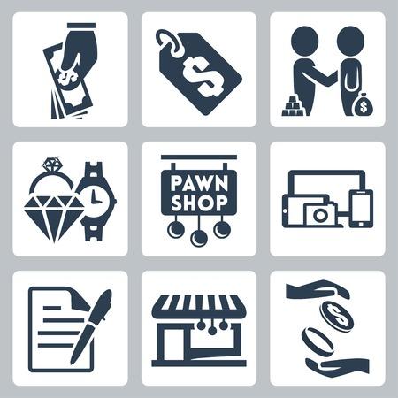 pawn shop: Vector isolated pawnshop icons set Illustration