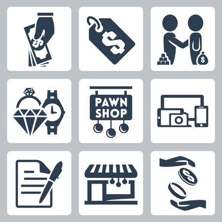 jewellery: Vector isolated pawnshop icons set Illustration
