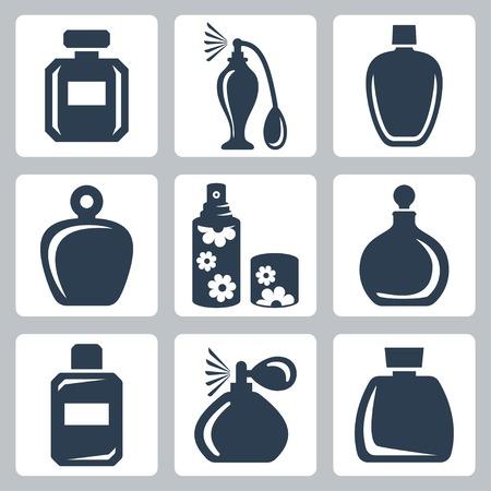 Vector geïsoleerde parfumflesjes pictogrammen instellen