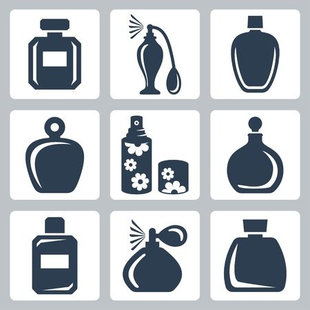 shapes: Vector isolated perfume bottles icons set
