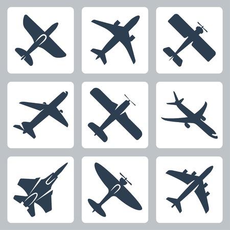 avion de chasse: Vecteur isol� ic�nes Ensemble d'avion
