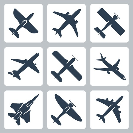 air war: Vector isolated plane icons set