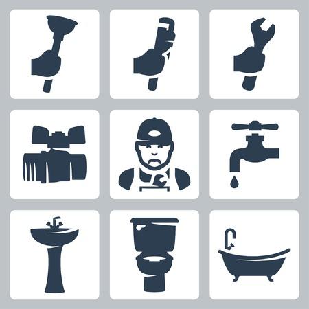 ca�er�as: Vector plomer�a iconos set: pist�n, llave ajustable, llave inglesa, llave esf�rica, fontanero, grifo, lavabo, inodoro, ba�era