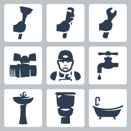Vector plumbing icons set: plunger, adjustable wrench, spanner, ball cock, plumber, faucet, washbasin, toilet bowl, bathtub Vector
