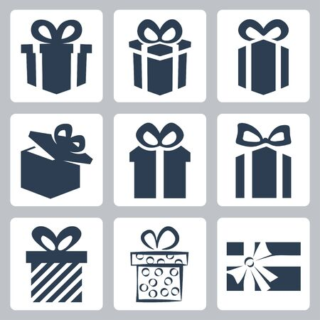 christmas presents: Vector isolated gift, present icons set