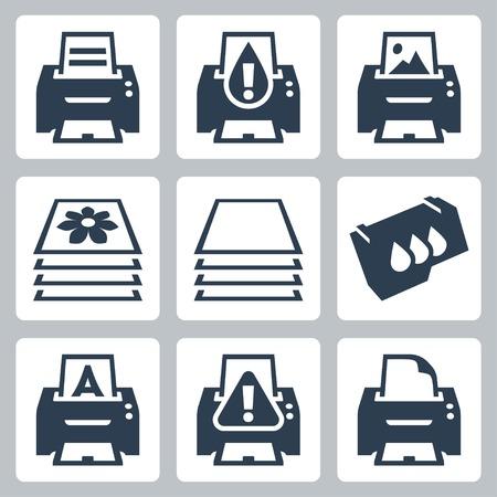 run out: Vector print, printer icons set