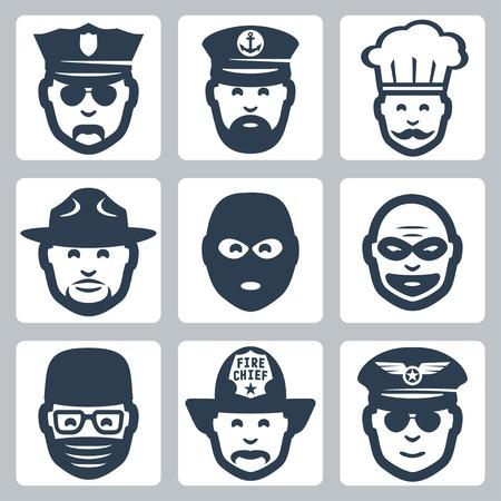 ranger: Vector avatar  professione  occupazione icone set: ufficiale di polizia, il capitano, cuoco, ranger, anti-terrorista, rapinatore, chirurgo, pompiere, pilota