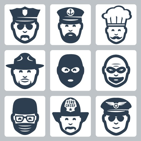 fighter pilot: Vector avatarprofessionoccupation icons set: police officer, captain, chef, ranger, anti-terrorist, robber, surgeon, fireman, pilot