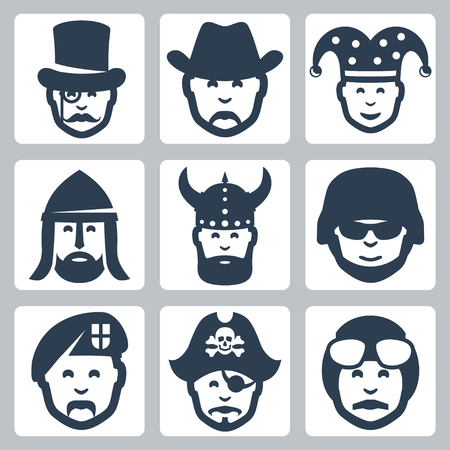 military beret: Vector profession icons set: magician, cowboy, jester, knight, viking, soldier, paratrooper, pirate, pilot Illustration