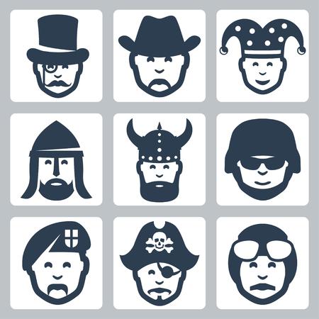 fallschirmj�ger: Vektor-Icons gesetzt Beruf: Zauberer, Cowboy, spa�vogel, Ritter, Wikinger, Soldat, Fallschirmj�ger, Pirat, Pilot