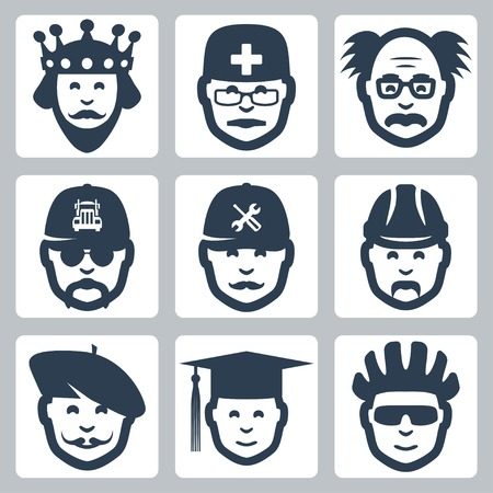 trucker: Vector profession icons set: king, doctor, scientist, trucker, repairman, builder, artist, graduating student, cyclist Illustration
