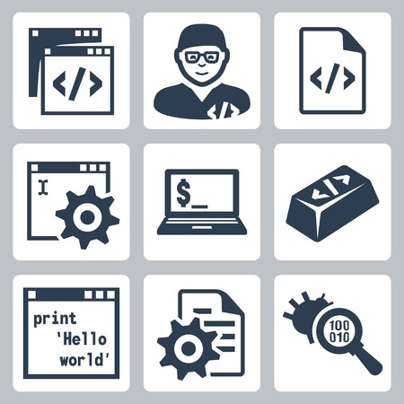 debugging: Vector programming and software development icons set