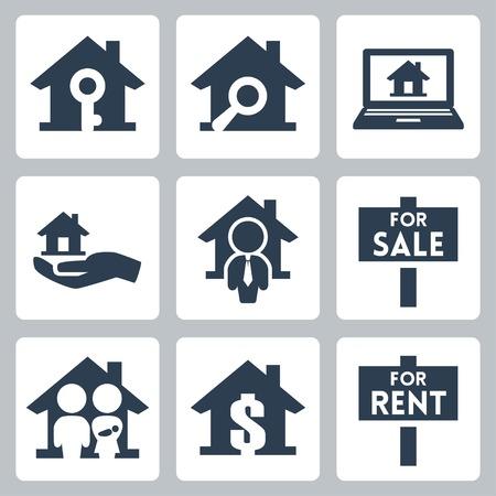 estates: Iconos inmobiliarios vector definido Vectores