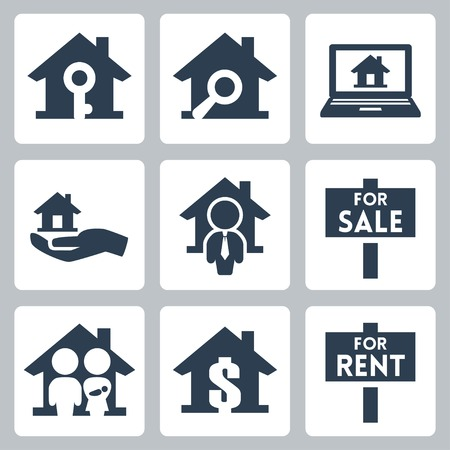 property management: Vector real estate icons set