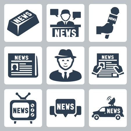 news van: Vector news and journalism icons set Illustration