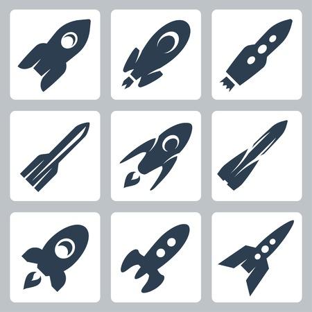 Vector isolated rockets icons set Vektorové ilustrace