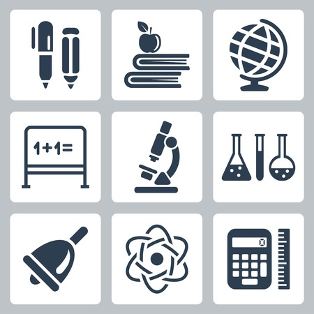 school icons: Vector isolated school icons set
