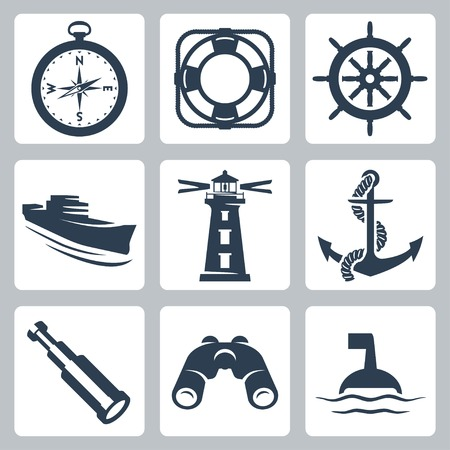 binoculars: Vector sea icons set: compass, ring-buoy, steering wheel, ship, lighthouse, anchor, spyglass, binoculars, buoy Illustration
