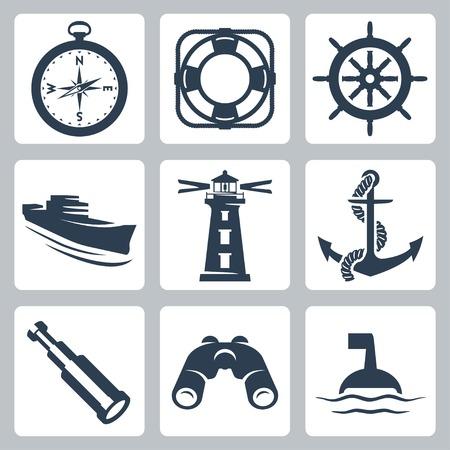 kijker: Vector zee iconen set: kompas, ring-boei, stuurwiel, schip, vuurtoren, anker, kijker, verrekijker, boei