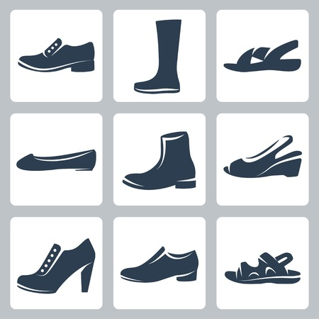 wearing slippers: Vector isolated shoes icons set