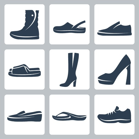 shoes vector: Vector isolated shoes icons set