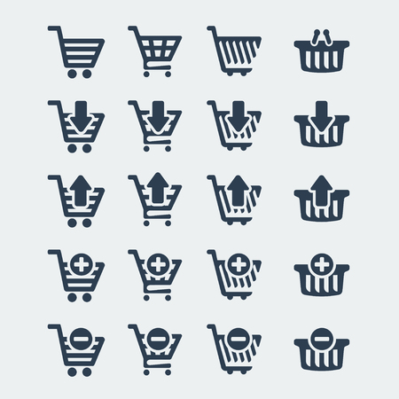 Vector shopping carts icons set Vector