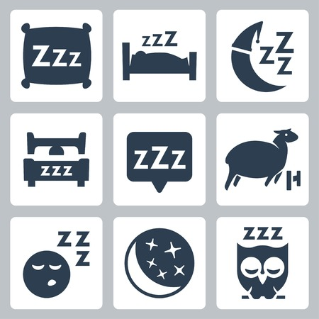 Vector isolated sleep concept icons set: pillow, bed, moon, sheep, owl, zzz Çizim