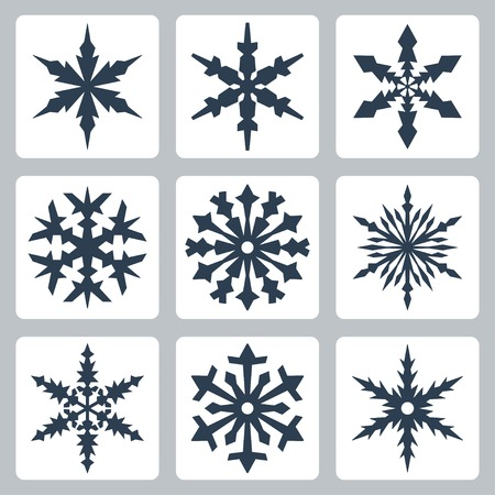 snowflake border: Vector isolated snowflakes icons set