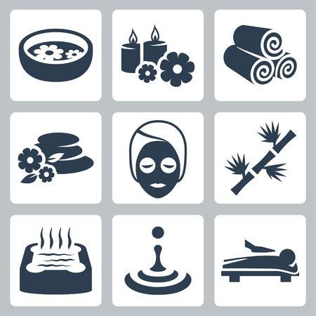 massage therapie: Vector geïsoleerd spa iconen set