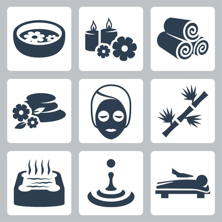 beauty spa: Vector isolated spa icons set