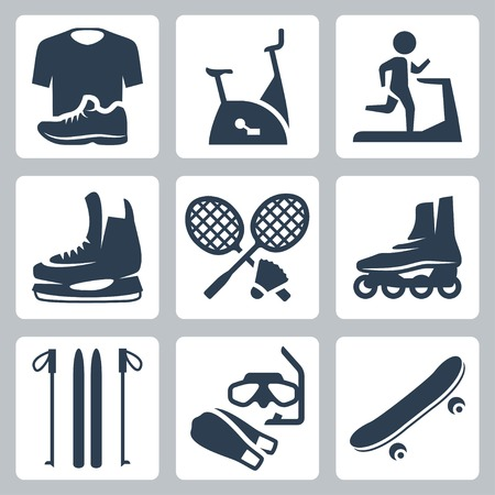 Vector sports goods icons set: sportswear, stationary bicycle, treadmill,  skates, rackets and shuttlecock, roller skates, skis, diving mask and flippers, skateboard Vector
