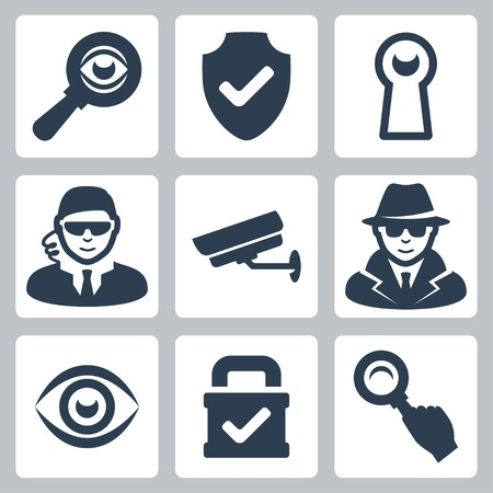 secret agent: Vector spy and security icons set: magnifying glass, shield, heyhole, security man, surveillance camera, spy, eye, lock