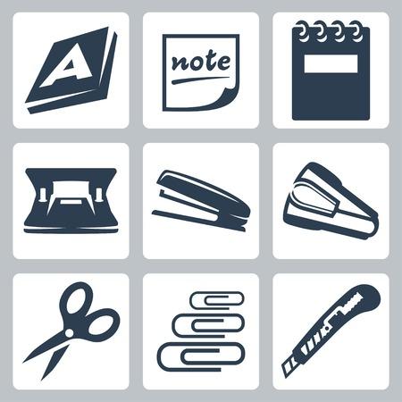 grapadora: Vector de papelería de oficina conjunto de iconos: resma, nota, bloc, perforadora, grapadora, destapler, tijeras, clips de papel, cuchillo