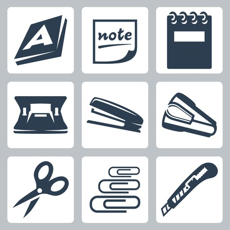 writing pad: Vector office stationery icons set: ream, note, writing pad, hole punch, stapler, destapler, scissors, paper clips, utility knife