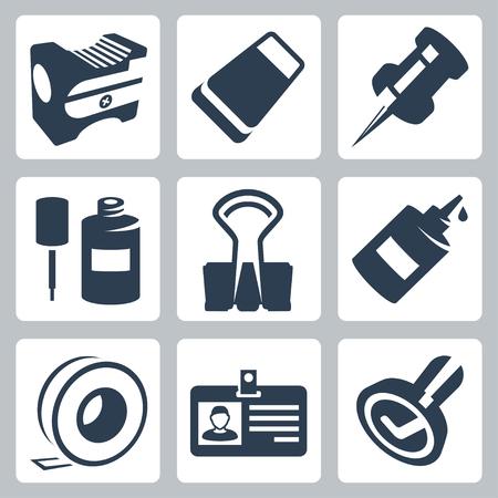 sacapuntas: Papelería de oficina iconos conjunto de vectores: sacapuntas, goma de borrar, Chincheta, líquido corrector, clips, pegamento, cinta adhesiva, etiqueta de identidad, sello
